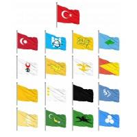 Eski Türk Devletleri Sopalı Bayrak Seti 20x30cm 17'li