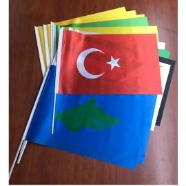 Eski Türk Devletleri Sopalı Bayrak Seti 30x45cm 17'li