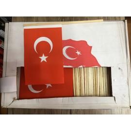 Ahşap Sopalı Kağıt Türk Bayrağı - 500'lü Paket